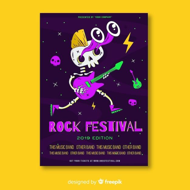 Modello di manifesto festival musica disegnata a mano Vettore gratuito
