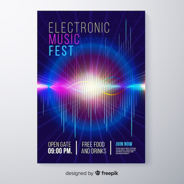 Modello di manifesto festival musica elettronica astratta Vettore gratuito