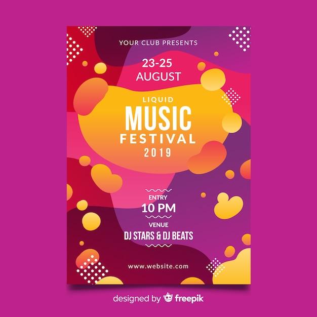 Modello di manifesto festival musicale con effetto liquido Vettore gratuito