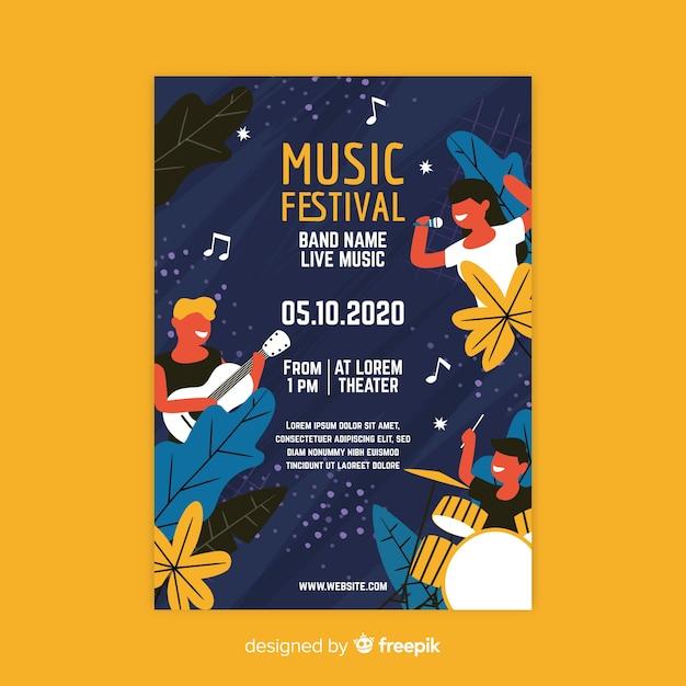 Modello di manifesto festival musicale disegnato a mano Vettore gratuito