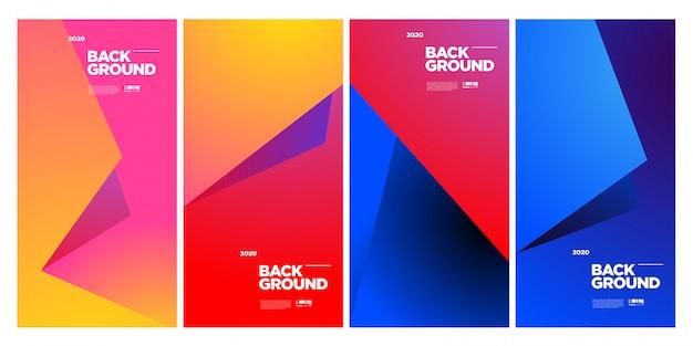 Modello di manifesto geometrico colorato astratto alla moda Vettore Premium