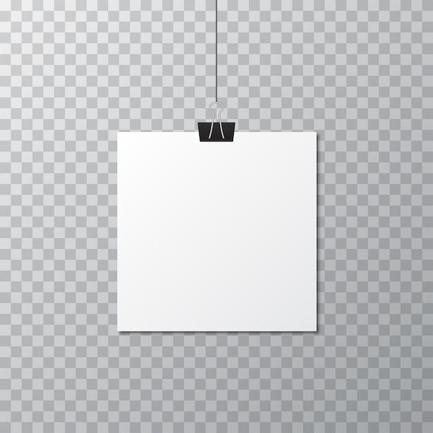 Modello di manifesto in bianco bianco con clip di cancelleria Vettore Premium