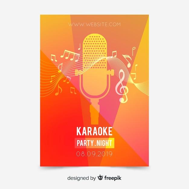 Modello di manifesto karaoke gradiente astratto Vettore gratuito