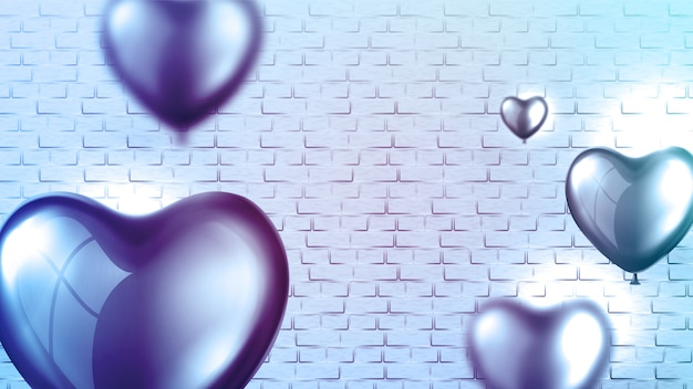 Modello di manifesto palloncino cuore lucido luminoso Vettore Premium