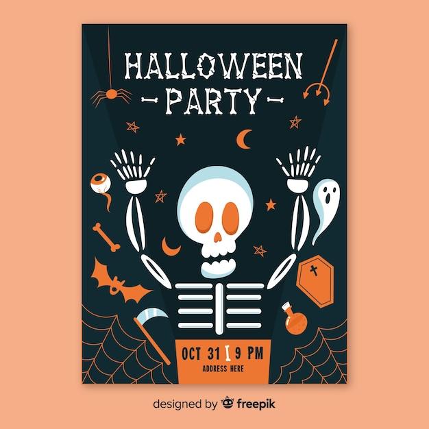 Modello di manifesto piatto festa di halloween Vettore gratuito