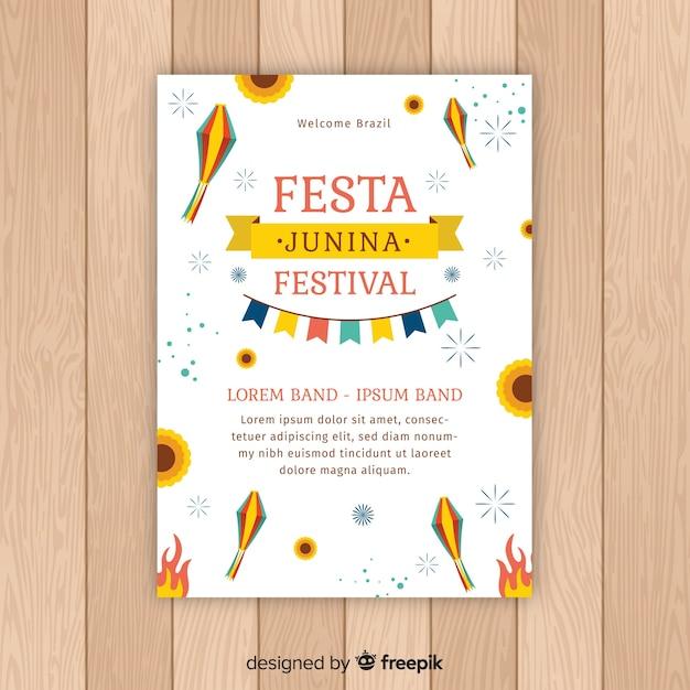 Modello di manifesto piatto festa junina Vettore gratuito