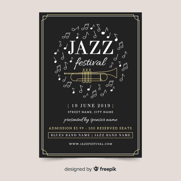 Modello di manifesto piatto giorno jazz internazionale Vettore gratuito