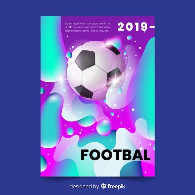 Modello di manifesto realistico gradiente di calcio Vettore gratuito