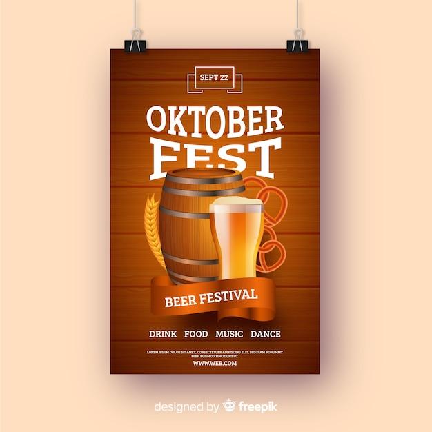 Modello di manifesto realistico più oktoberfest Vettore gratuito