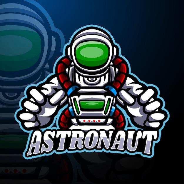 Modello di mascotte logo astronauta esport Vettore Premium