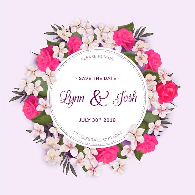 Modello di matrimonio ghirlanda floreale Vettore gratuito