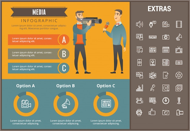 Modello di media infografica, elementi e icone Vettore Premium
