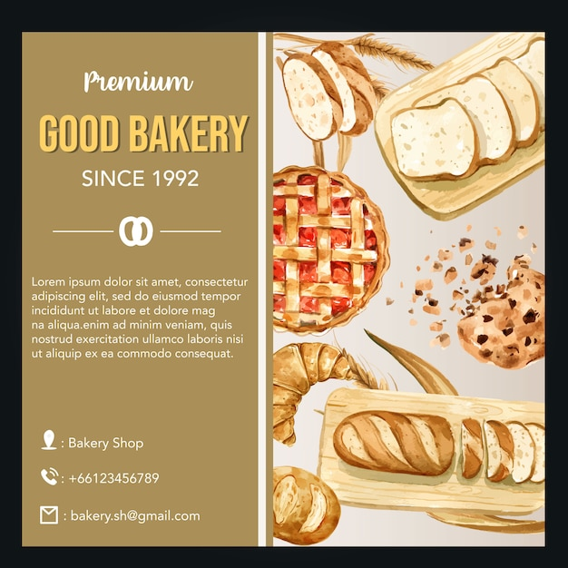 Modello di media sociali bakery. raccolta pane e panino fatti in casa Vettore gratuito