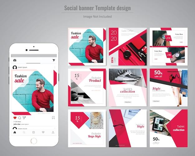Modello di media sociali di moda rossa Vettore Premium