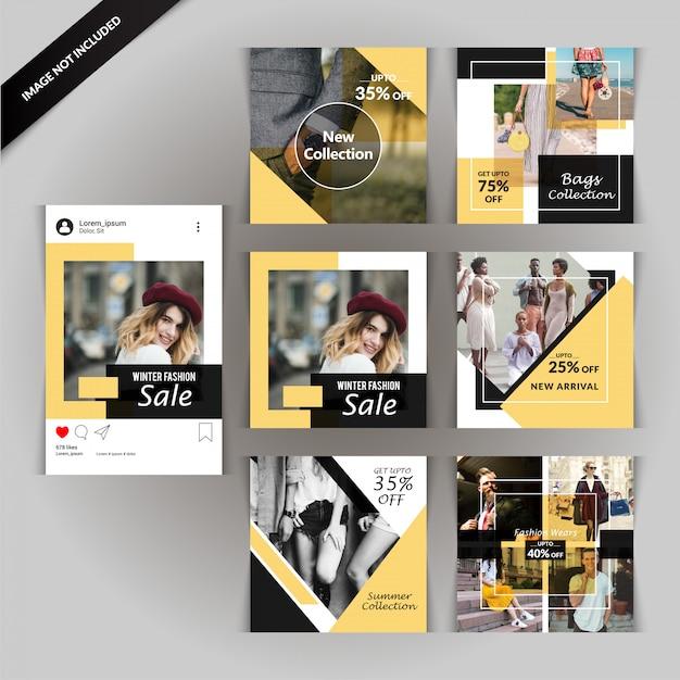 Modello di media sociali di moda Vettore Premium