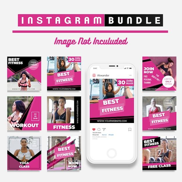 Modello di media sociali sconto fitness sconto Vettore Premium