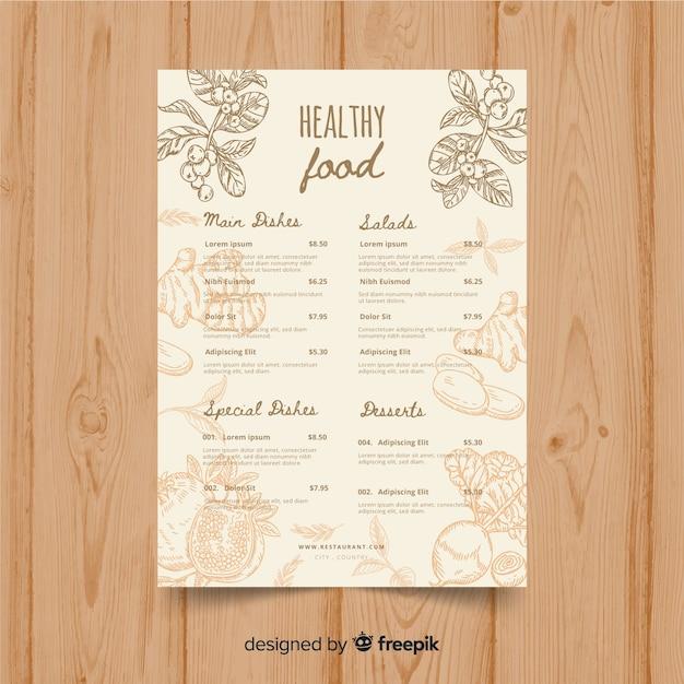 Modello di menu biologico vintage Vettore gratuito