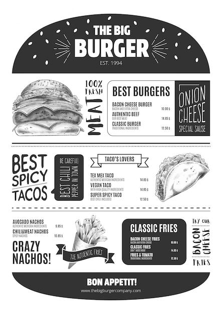 Modello di menu burger con fast food disegnato a mano Vettore gratuito