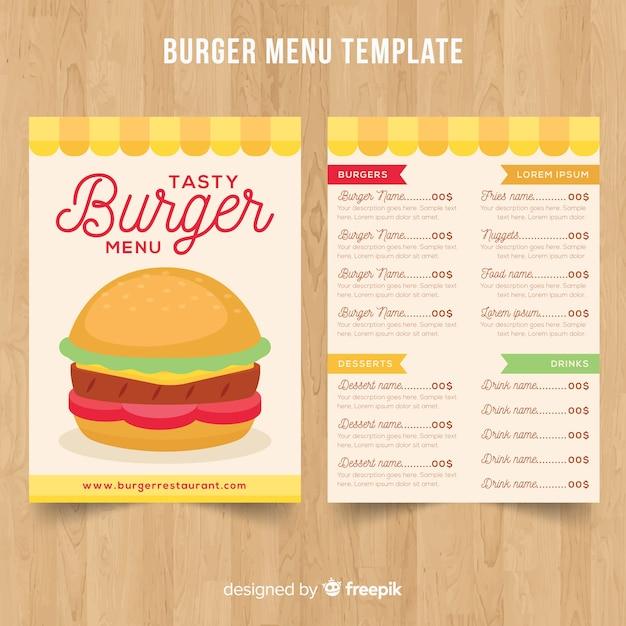Modello di menu burger Vettore gratuito