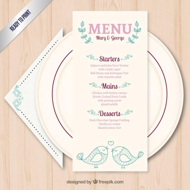 Preferenza Modello di menu carino matrimonio | Scaricare vettori gratis KR95
