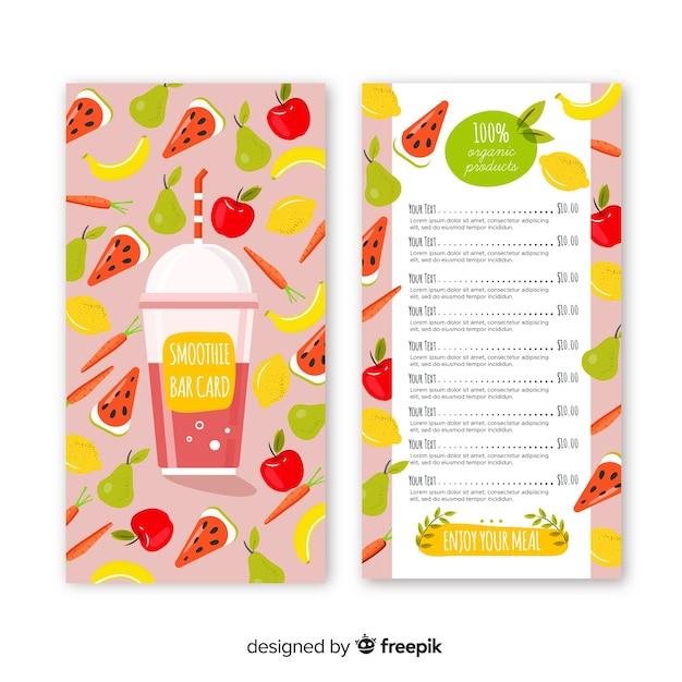Modello di menu cibo naturale Vettore gratuito