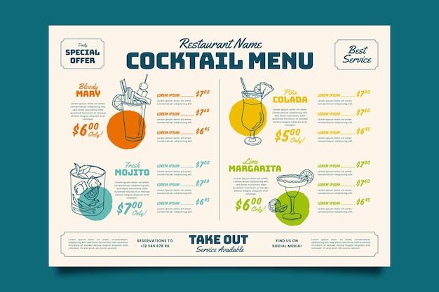 Modello di menu cocktail colorato Vettore gratuito