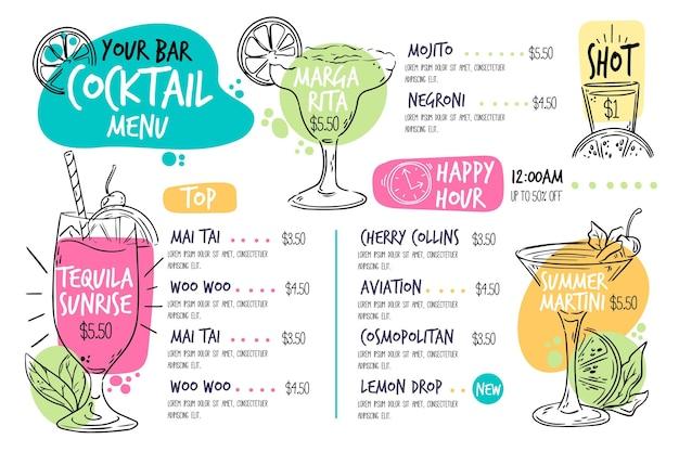Modello di menu cocktail disegnati a mano Vettore gratuito
