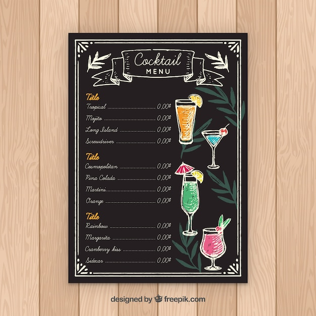 Modello di menu cocktail stile lavagna Vettore gratuito