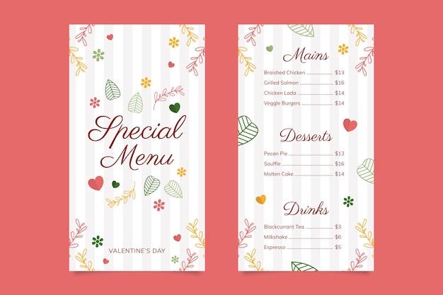 Modello di menu colorato di san valentino Vettore gratuito