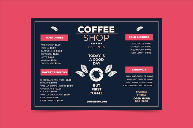 Modello di menu concetto di caffè Vettore gratuito