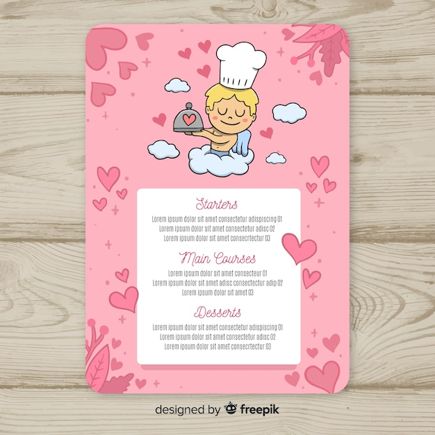 Modello di menu cupido chef san valentino Vettore gratuito