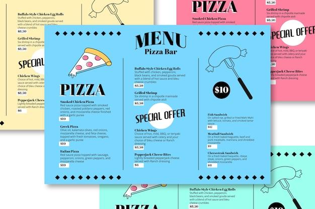 Modello di menu del ristorante bar pizza Vettore gratuito