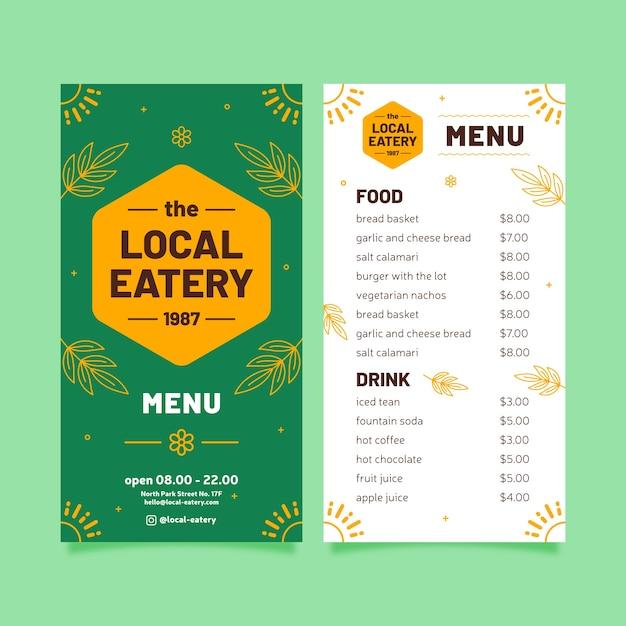 Modello di menu del ristorante con foglie Vettore gratuito