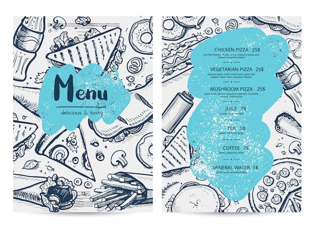 Modello di menu del ristorante con schizzi di cibo Vettore Premium