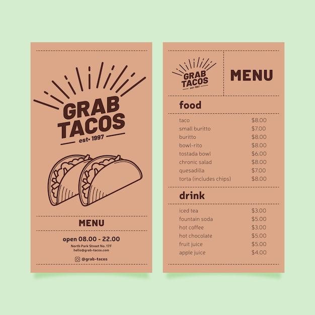 Modello di menu del ristorante con tacos Vettore gratuito
