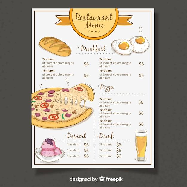 Modello di menu del ristorante design piatto Vettore gratuito