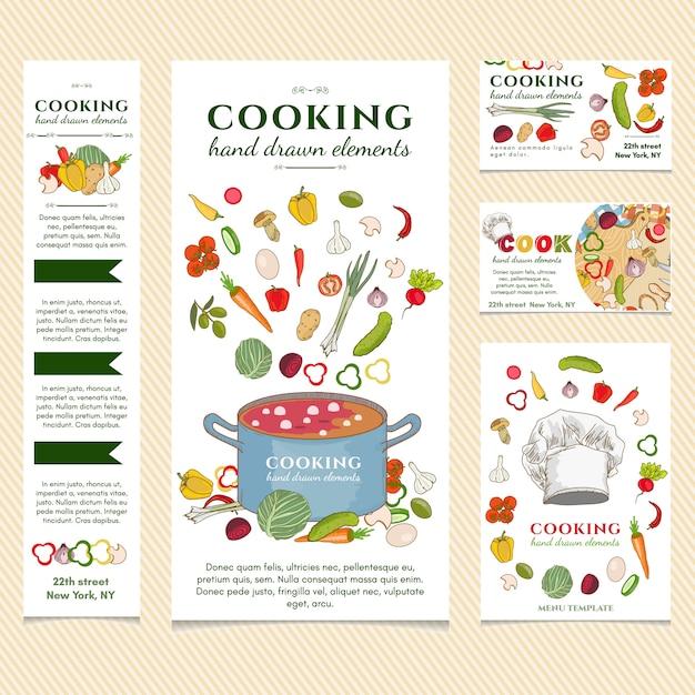 Modello di menu del ristorante di cucina Vettore Premium