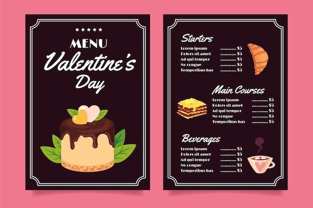 Modello di menu del ristorante di san valentino Vettore gratuito