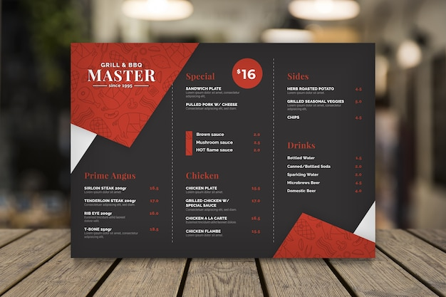 Modello di menu del ristorante grill Vettore gratuito