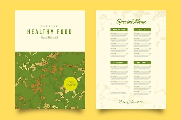 Modello di menu del ristorante in marmo cibo sano Vettore gratuito