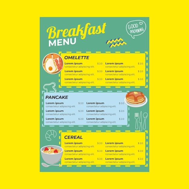 Modello di menu del ristorante per la colazione Vettore gratuito