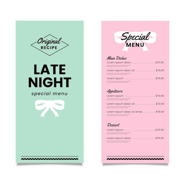 Modello di menu del ristorante speciale colorato Vettore gratuito