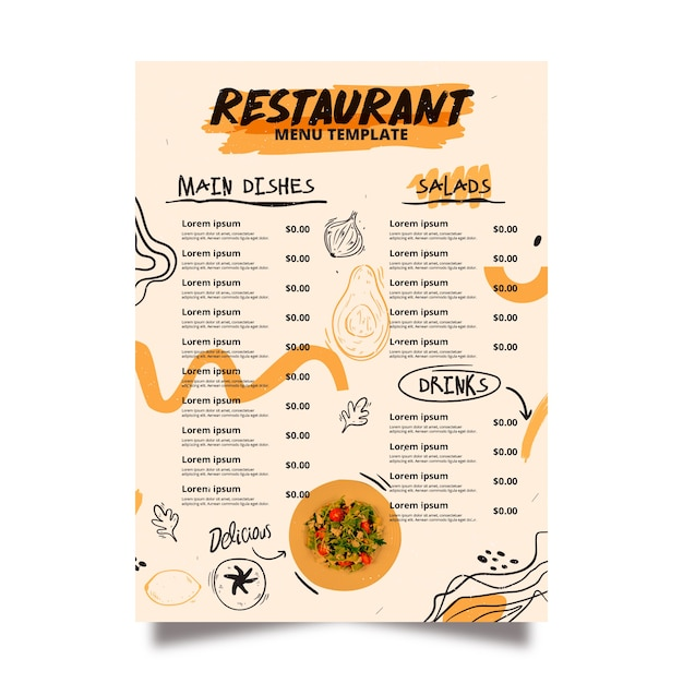 Modello di menu del ristorante tradizionale Vettore gratuito
