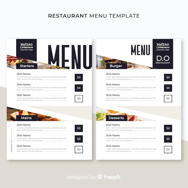 Modello di menu del ristorante Vettore gratuito
