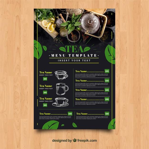 Modello di menu del tè con foglie Vettore gratuito