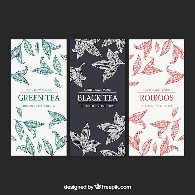 Modello di menu del tè per sala da tè Vettore gratuito