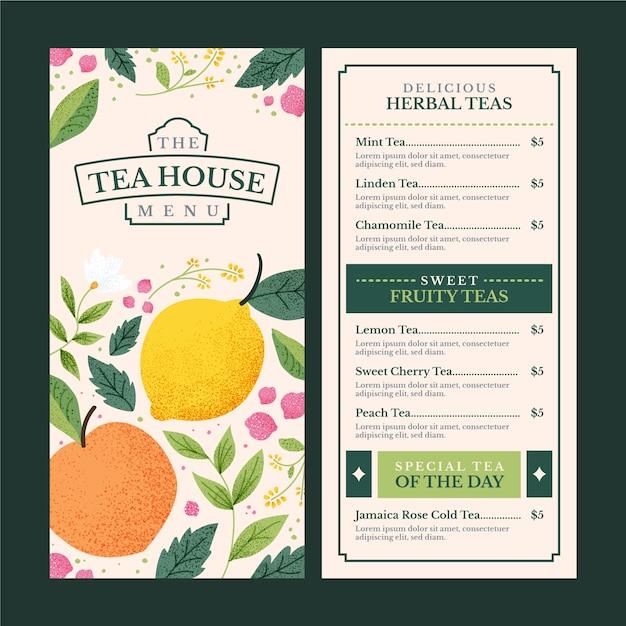 Modello di menu della casa da tè Vettore gratuito