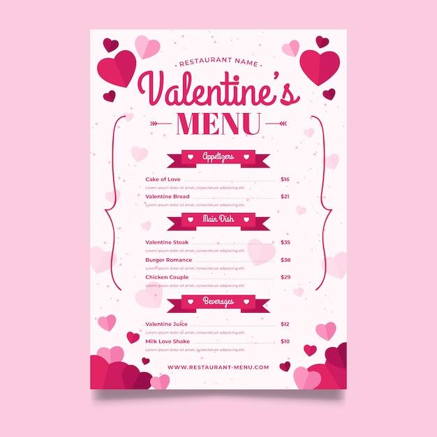 Modello di menu design piatto di san valentino Vettore gratuito