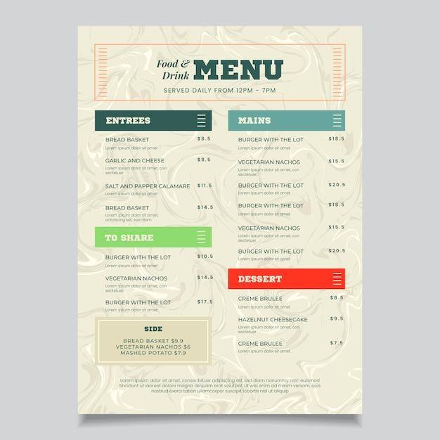 Modello di menu di cibo sano in marmo Vettore gratuito
