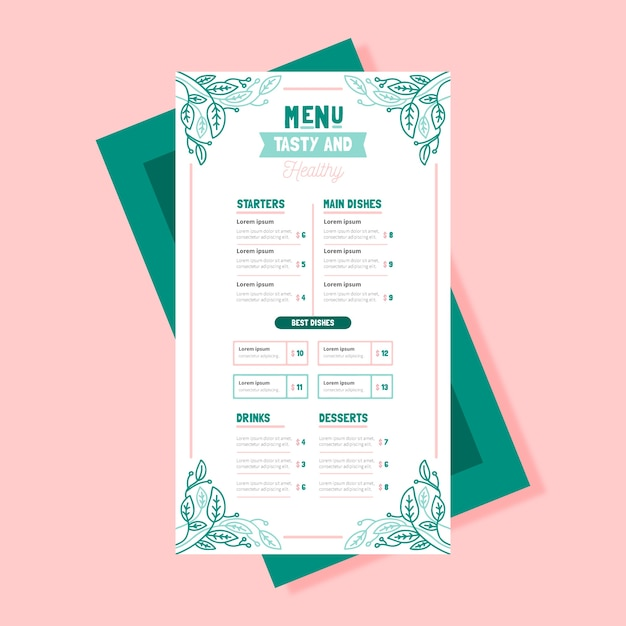 Modello di menu di cibo sano vintage Vettore gratuito